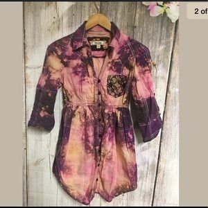 Bleached Babydoll Top Purple Silver Decree Medium
